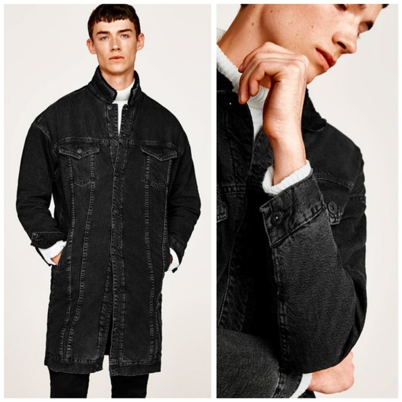 20f2b0d4 ... Zara Man, Black Long Denim Jacket. M_5c3fece26a0bb777f80523d7